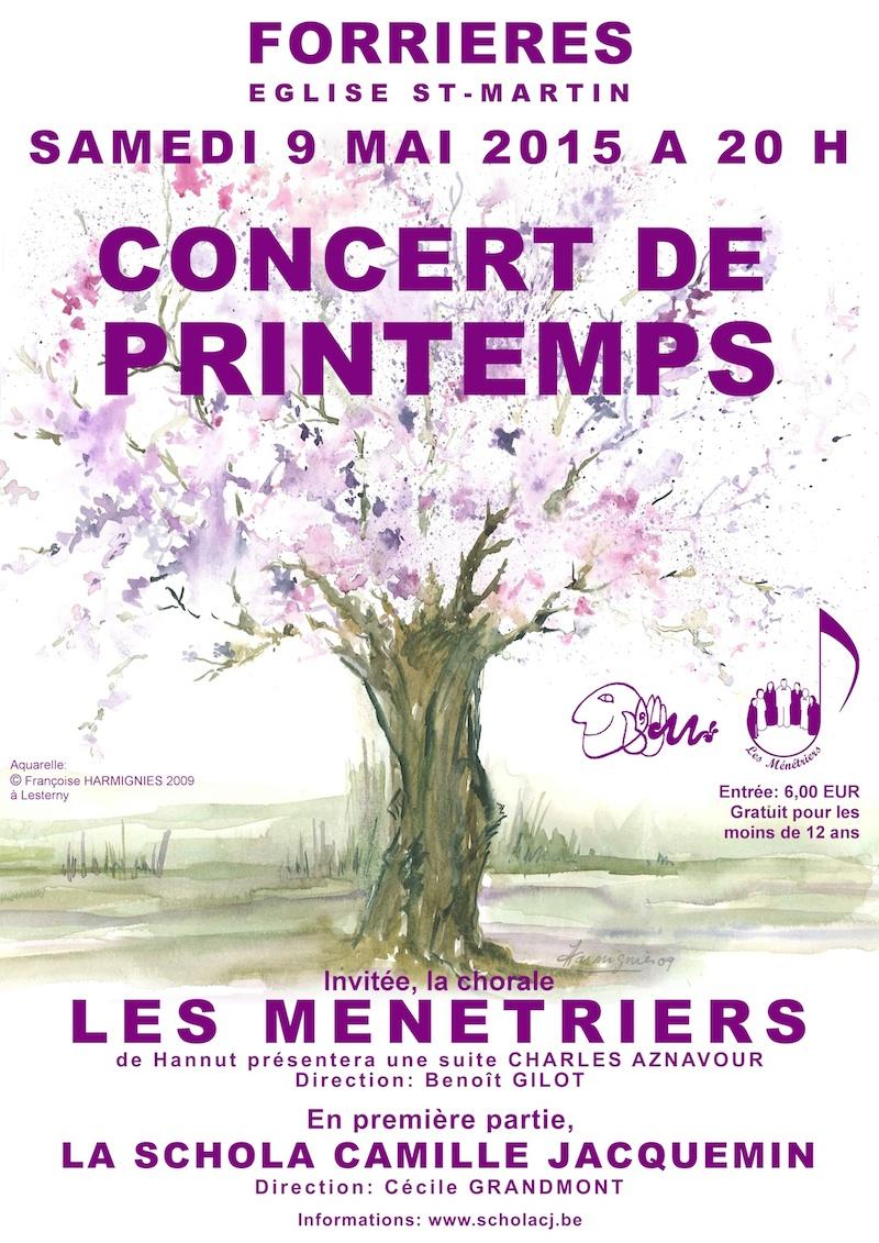 affiche du concert de printemps 2015 de la Schola Camille Jacquemein à Forrières