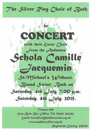 affiche du concert de la Schola Camille Jacquemin à Bath le 4 juillet 2015