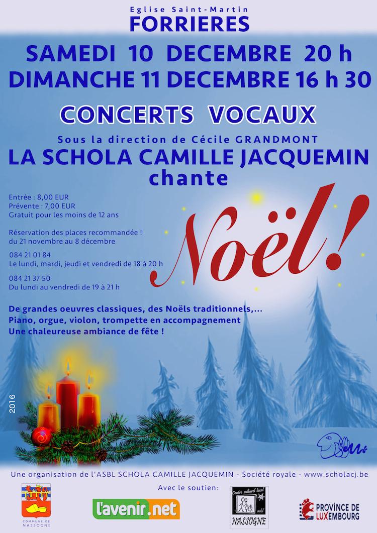 10 décembre 20h et 11 décembre 2016 16h30, grands concerts de Noël avec la Schola Camille Jacquemin en l'église de Forrières