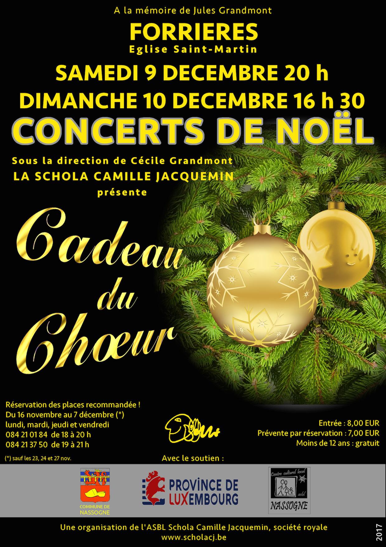 affiche du concert de Noël 2017 de la Schola Camille Jacquemin