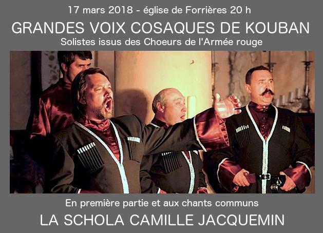 17 mars 2018 à Forrières, les Grands Choeurs Cosaques de Kouban avec la Schola Camille Jacquemin en l'église de Forrières