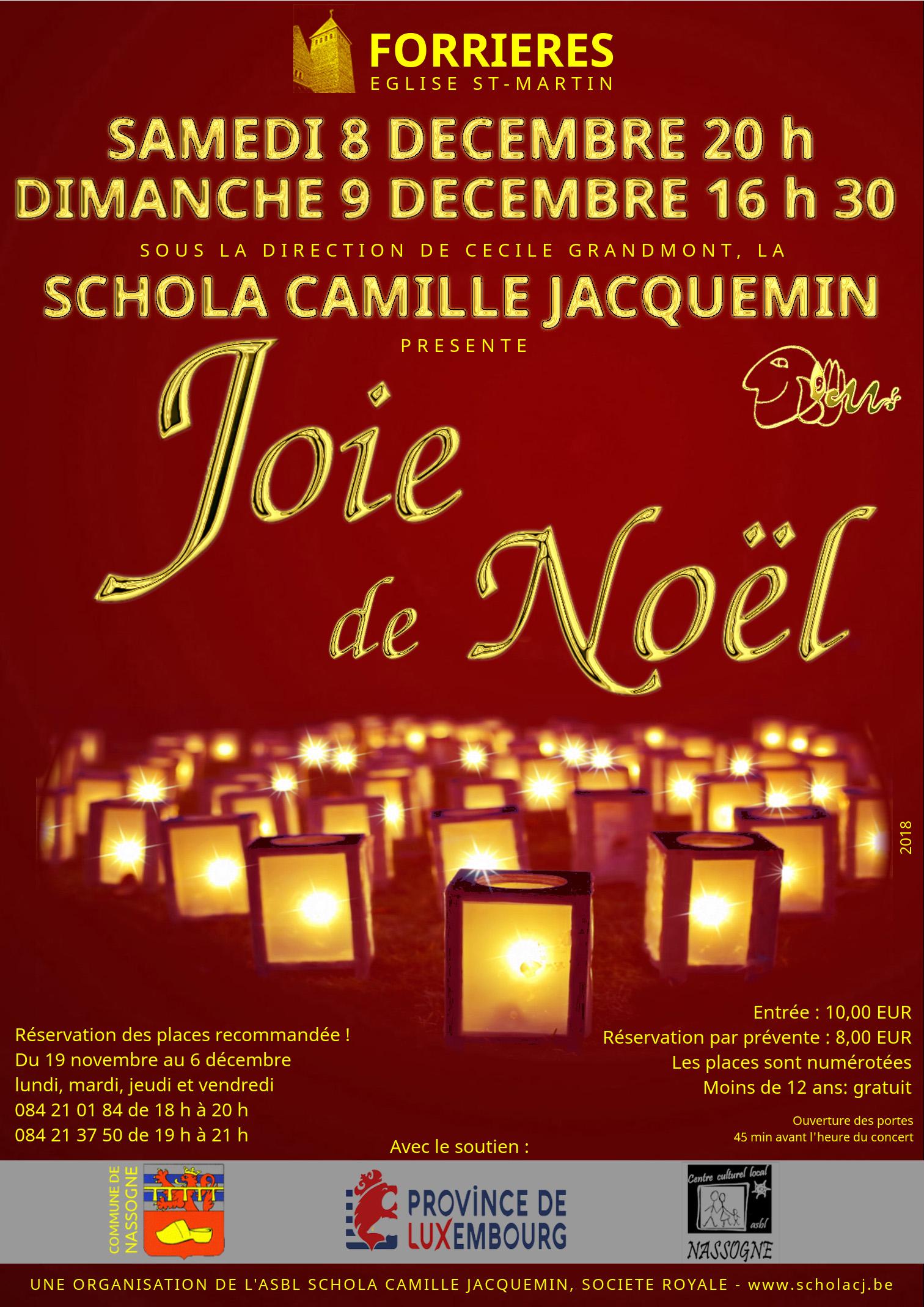 8 décembre 20h et 9 décembre 2016 16h30, grands concerts de Noël avec la Schola Camille Jacquemin en l'église de Forrières