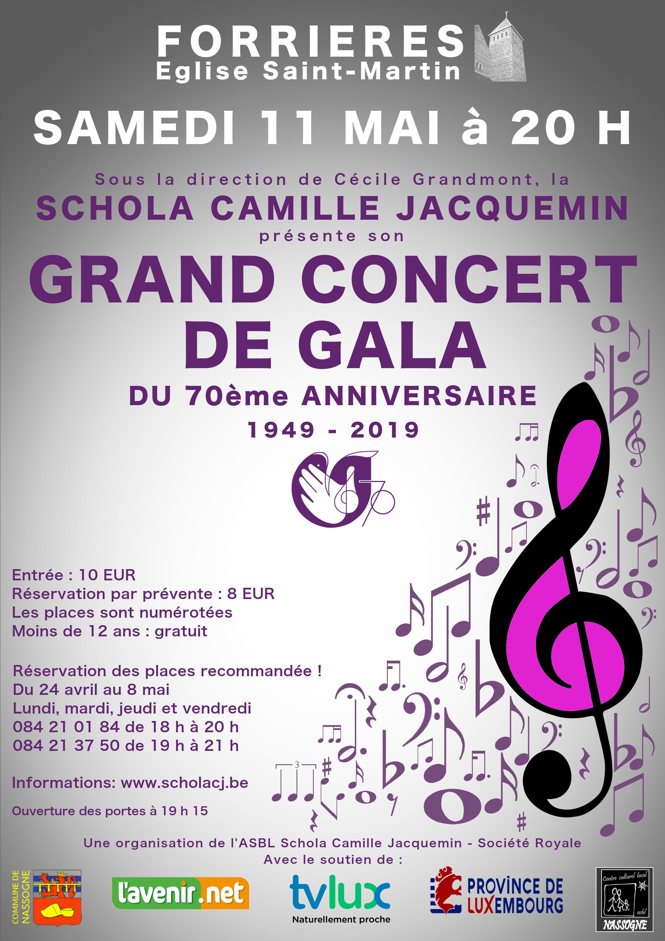 11 mai 2019 à Forrières, grand concert de gala de la Schola Camille Jacquemin à l'occasion du 70ème anniversaire de sa fondation