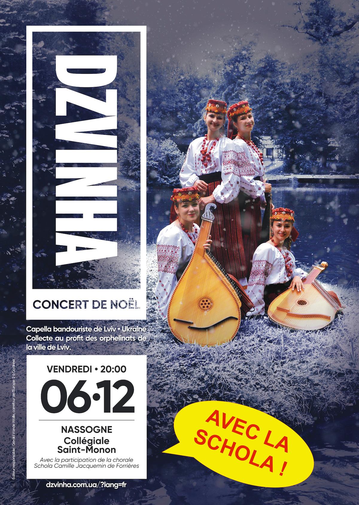 6 décembre, concert ukrainien en la collégiale St-Monon, l'ensemble Dzvihna avec la Schola Camille jacquemin