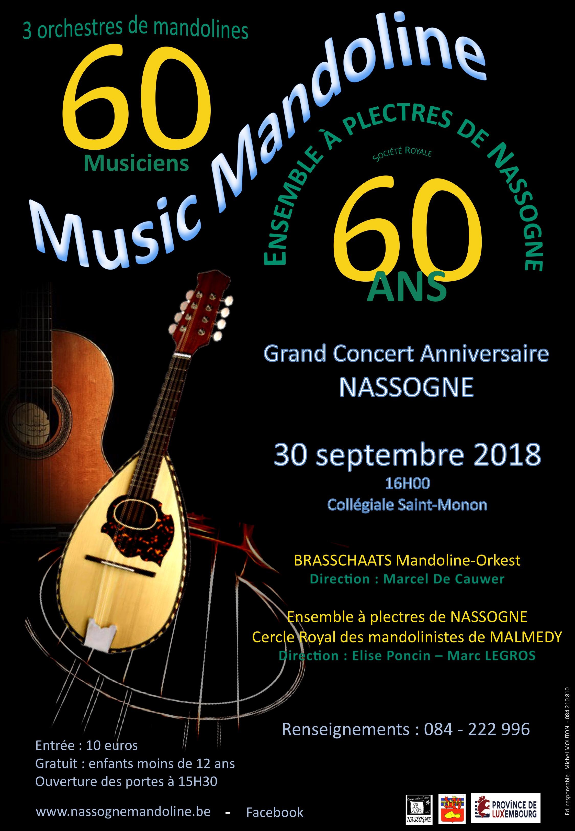 Grand concert des 60 ans de l'Ensemble à Plectres de Nassogne, le 30 septembre 2018 à Nassogne