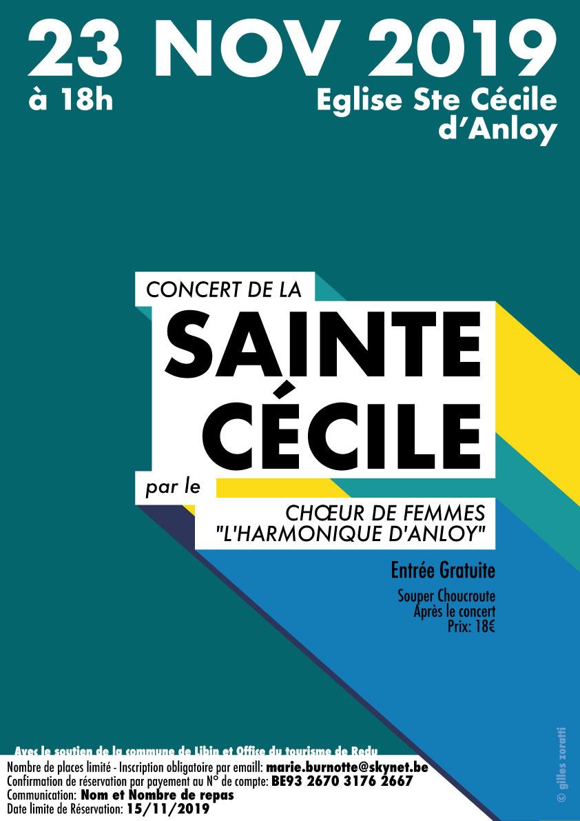 Fête de Sainte-Cécile à Anloy (concert et repas) le 23 novembre